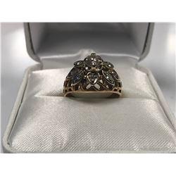 LADIES 14K WHITE & YELLOW GOLD 9 DIAMOND RING  - APPRAISED VALUE $5125.00