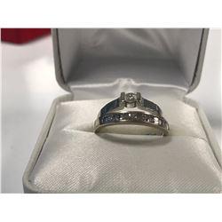 LADIES 14K  & 18K WHITE GOLD 16 DIAMOND RING SET  - APPRAISED VALUE $4830.00