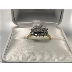 LADIES 14K WHITE & YELLOW GOLD 17 DIAMOND RING  - APPRAISED VALUE $4630.00