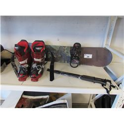 SIMS SNOWBOARD, BURTON FREESTYLE JR BINDINGS, ATOMIC LIVEFIT 130 PRO T2 BOOTS