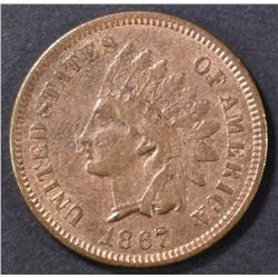 1867 INDIAN CENT XF/AU