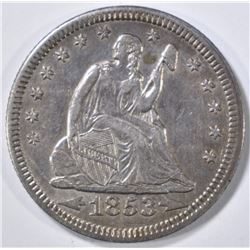 1853 ARROWS & RAYS SEATED QUARTER AU