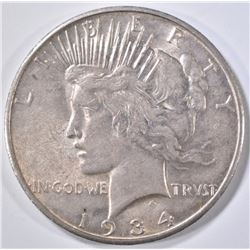 1934-S PEACE DOLLAR CH AU KEY DATE, LIGHT TONE