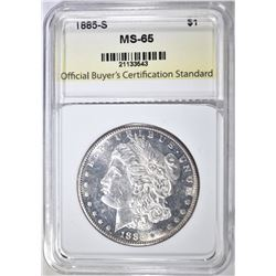 1885-S MORGAN DOLLAR, OBCS GEM BU