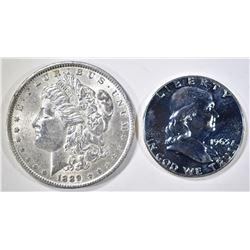 1889 MORGAN DOLLAR AU/BU & 1963 PROOF FRANKLIN