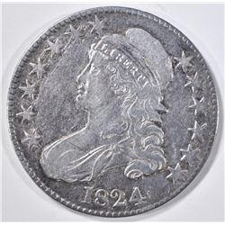 1824 BUST HALF DOLLAR XF SCRATCH OBV