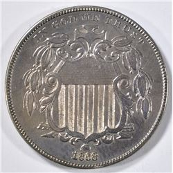 1868 SHIELD NICKEL AU CLEANED