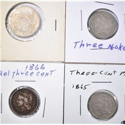 MIXED LOT 3 CENT NICKELS AND SHIELD NICKEL