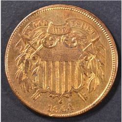 1864 2 CENT PIECE BU CLEANED