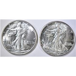 1942 & 45 WALKING LIBERTY HALF DOLLARS  CH BU