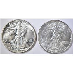 1943 & 44 WALKING LIBERTY HALF DOLLARS CH BU