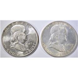 1949-D,S FRANKLIN HALF DOLLARS  BU