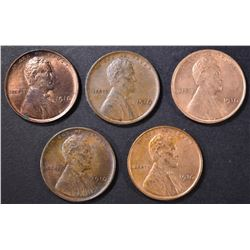 5 1910 LINCOLN CENTS