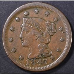 1847 LARGE CENT  VF/XF
