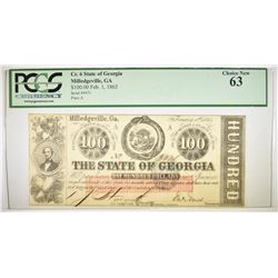 1863 $100 CSA STATE OF GEORGIA  PCGS 63