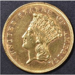 1861 $3 GOLD INDIAN PRINCESS AU/BU