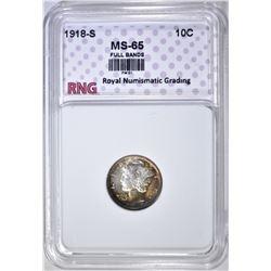 1819-S MERCURY DIME  RNG  GEM BU FB