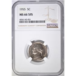 1955 JEFFERSON NICKEL NGC MS-66 5FS