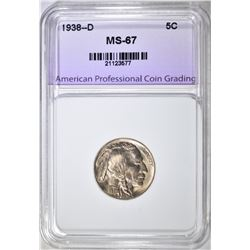 1938-D BUFFALO NICKEL, APCG SUPERB GEM BU