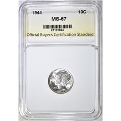 1944 MERCURY DIME, OBCS SUPERB GEM BU