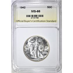 1942 WALKING LIBERTY HALF, OBCS SUPERB GEM BU