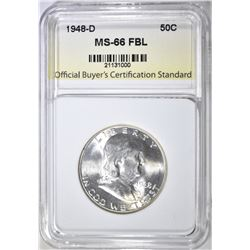 1948-D FRANKLIN HALF, OBCS SUPERB GEM BU FBL