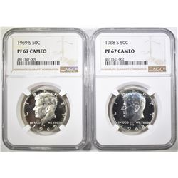 1968-S & 69-S KENNEDY HALVES, NGC PF-67 CAMEO