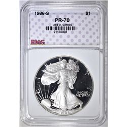 1986-S SILVER EAGLE, RNG PERFECT GEM PR DCAM