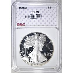 1988-S SILVER EAGLE, RNG PERFECT GEM PR DCAM