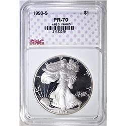 1990-S SILVER EAGLE, RNG PERFECT GEM PR DCAM