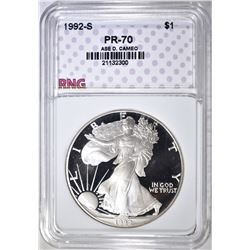 1992-S SILVER EAGLE, RNG PERFECT GEM PR DCAM