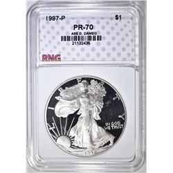 1997-P SILVER EAGLE, RNG PERFECT GEM PR DCAM