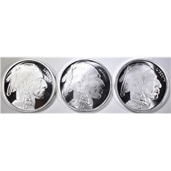 3-ONE OUNCE SILVER INDIAN/BUFFALO ROUNDS
