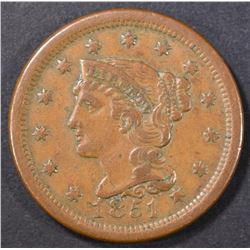 1851 LARGE CENT  XF/AU