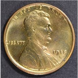 1918-S LINCOLN CENT  CH BU  FULL RED
