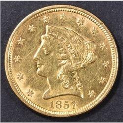 1857 $2.5 GOLD LIBERTY  BU