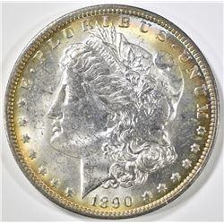 1890-O MORGAN DOLLAR, CH BU - NICE COLOR