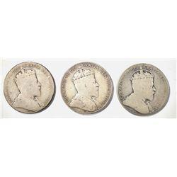 1903-H, 06, 08 VG/F KEY DATE CANADIAN HALF DOLLARS