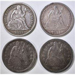 4 SEATED LIBERTY DIMES VF-XF