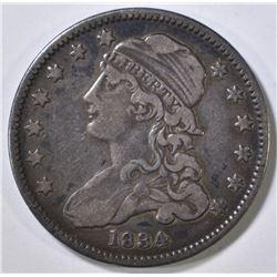 1834 BUST QUARTER VF