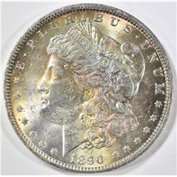 1890-O MORGAN DOLLAR, CH BU -OBV. TONED