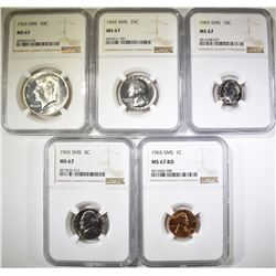 COMPLETE 1965 SMS SET, ALL NGC MS-67