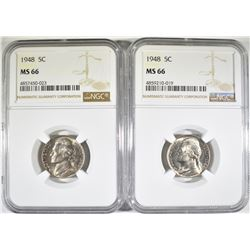 (2) 1948 NGC MS 66 JEFFERSON NICKELS
