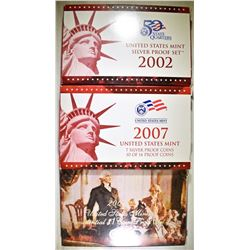 2002 & 07 U.S. SILVER PROOF SETS
