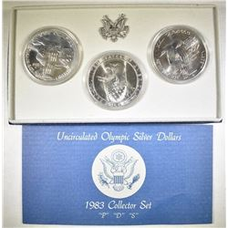 1983 OLYMPIC P-D-S COMMEM SILVER DOLLAR SET