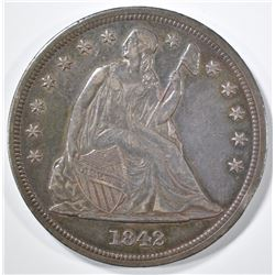 1842 SEATED LIBERTY DOLLAR AU/BU