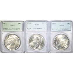 3 PEACE DOLLAR PCGS GRADED LOT: