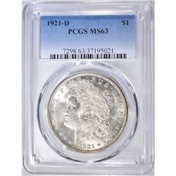 1921-D MORGAN DOLLAR  PCGS MS-63
