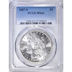 1887-S MORGAN DOLLAR  PCGS MS-63