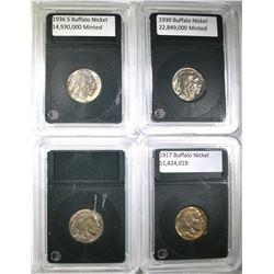4 BUFFALO NICKELS AU/BU